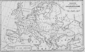 Map of Europe from the time of Charlemagne