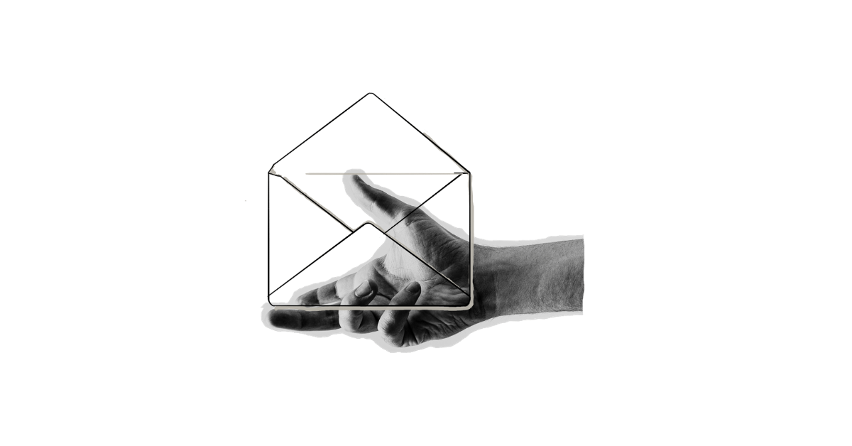 Open hand presenting a transparent envelope