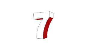 Drawing of the number seven in three dimensions