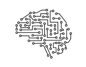 Circuit diagram in the shape of a brain
