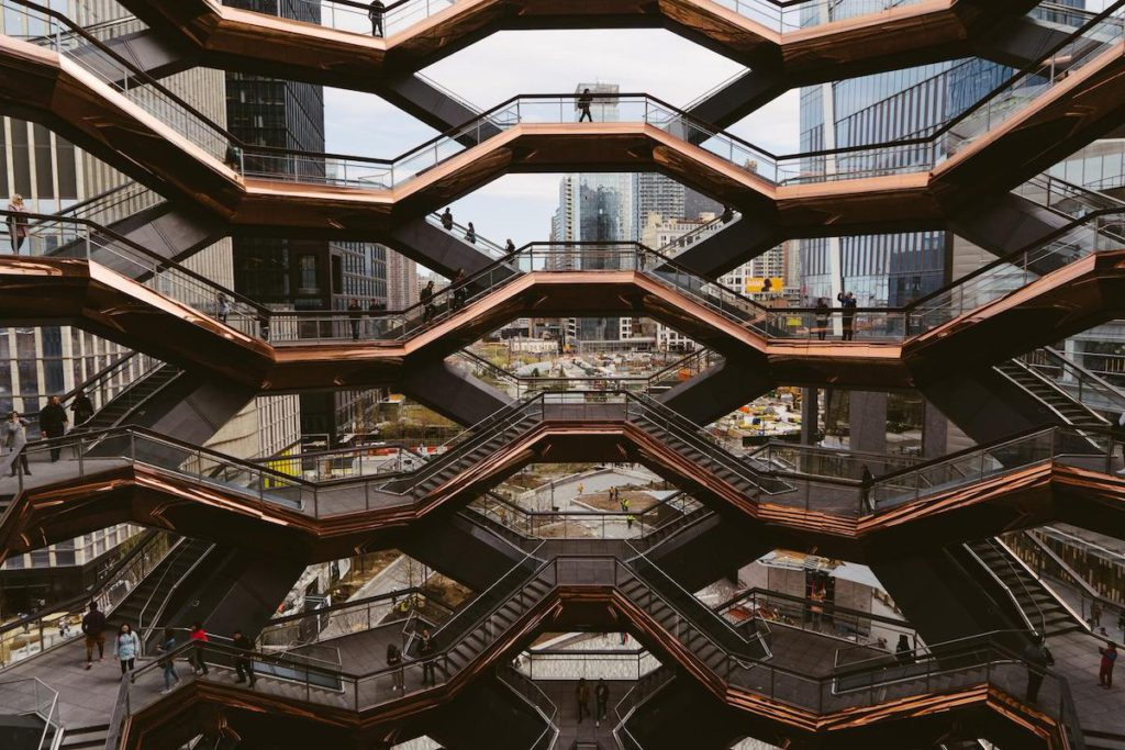 The Vessel building, NYC, shot taken from within the building