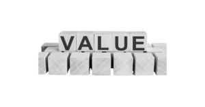 Wooden blocks spelling out 'VALUE'